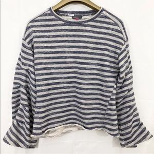 Vince Camuto Sweater PinTuck Long Sleeves Striped
